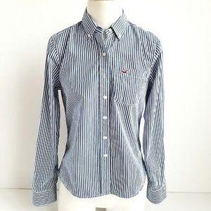 2/$30 Hollister Striped Blue White Shirt Button Up